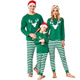 Aibrou Pijamas de Navidad Familia Conjunto Algodón,Ropa de Casa Dormir Casual Comodo y Cálido Mujere Hombre Niños