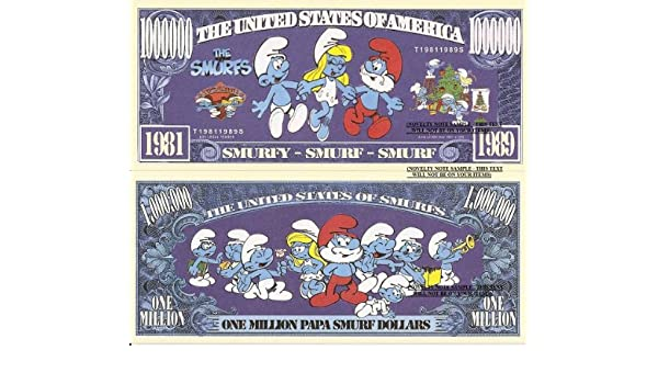 The Smurfs One Million Papa Smurf Dollar Bills x 2 Animated Small Blue Creatures