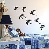 Pegatina De Pared 3D Etiqueta de la pared salón dormitorio Fondo gótico novela Papel pintado pegatinas poder juego inspirado 3D dragón decoración 7 piezas conjunto