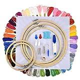 Cosoon set completo di ricamo starter kit punto croce kit di attrezzi con 5pezzi di bambù, a cerchio, 50fili di colore, 12da 45,7cm 14Count Classic Reserve Aida e aghi set H024