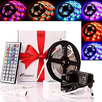 tresko 5m rgb led strip licht streifen band mit 300 leds smd3528 dimmbar 6 inkl 44 tasten. Black Bedroom Furniture Sets. Home Design Ideas