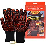 Heat Resistant BBQ Gloves, Grill Gloves Heat up to 932°F Heatproof Oven Mitts Grilling Gloves Safety Flame Resistant For Pot Holders Cooking