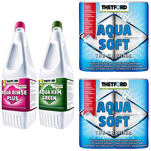 Thetford Toilettenzubehör 1,5L Aqua Rinse 1,5L Aqua Kem Green + 2x Aqua Soft WC Papier