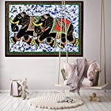 Handicraft-Palace Cotton Double Elephant Batik Printed Wall Hanging (42x30-inch, Black)