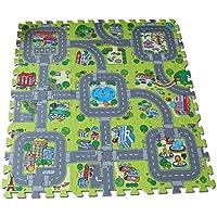 Alfombra puzzle de goma EVA para niños. Diseño de circuito de tráfico. 90 x 90 x 1 cm. 9 piezas intercambiables.