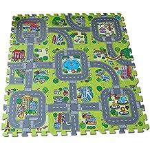 dc78d029b84 Alfombra puzzle de goma EVA para niños. Diseño de circuito de tráfico. 90 x