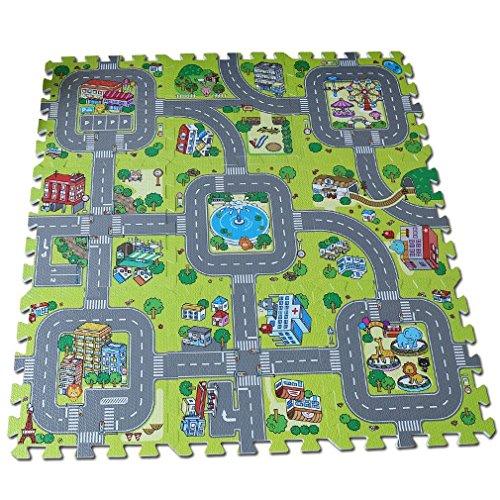 Alfombra puzzle de goma EVA para niños. Diseño de circuito...
