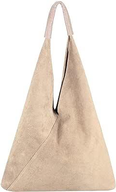 OBC Made in Italy Damen XXL Leder Tasche Handtasche Wildleder Shopper Schultertasche