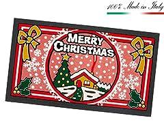 Idea Regalo - Zerbino NATALE MERRY CHRISTMAS in gomma moderno 40x70cm asciuga passi ASSORBENTE 100% MADE IN ITALY mod.CASETTA