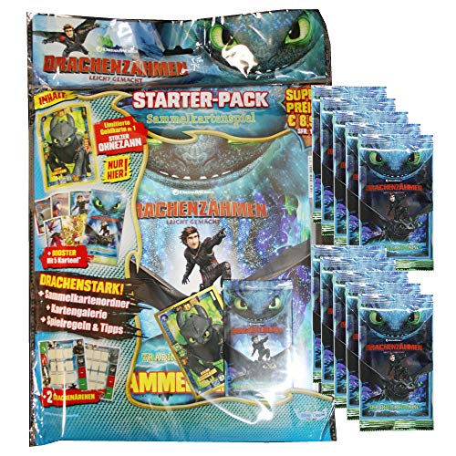 Dragons Trading Cards Serie 3 (2019) - Die geheime Welt - 1 Starter + 10 Booster - Poster Trading Card