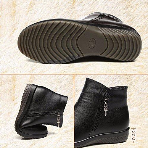 HXVU56546 Inverno In Pelle Artificiale Più Cashmere Caldo Spessa Piatta Con Scarpe Di Cotone Comode Scarpe Selvagge black