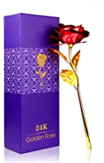 Art-n-Soul Creative Beautiful Gift 24K Red Foil Rose Flower Full Blossom Presents, Romantic Gift for Her with Box, Handcrafted & Love Last Forever (Red)