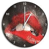 Red imagen Labios de reloj de pared con el blanco encabeza las manos y la cara, de 30 cm de diámetro, decoración perfecta para su hogar, idea regalo estupendo para jóvenes y mayores
