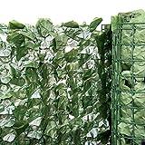 Kunst Hecke Efeu Basic 100x 300cm mit Netz immergrüne Balkon Rankgitter 48661