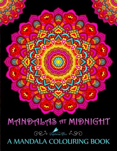 Mandalas At Midnight: A Mandala Colouring Book: Mandalas on Black Background Paper (UK Edition) por Papeterie Bleu