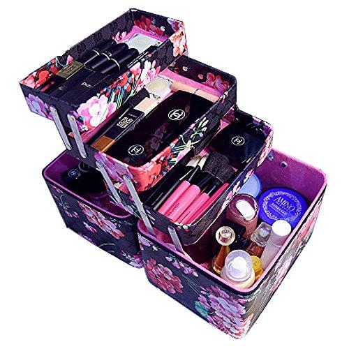 Mode Fleur Imprimé Femmes Cosmétique Boîte Designer Haute Qualité Portable PU Cosmétique Sac Grande Capacité Femmes Maquillage Dédié (noir)