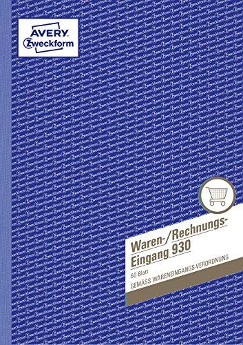 Avery Zweckform 930 Waren-/Rechnungseingangsbuch (A4, beidseitig bedruckt, 50 Blatt) weiß