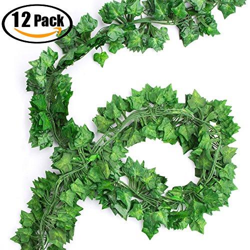Vidillo pianta artificiale ghirlanda, 5/12 pezzi edera rampicante foglie verdi fiori esterne per festa di matrimonio e la decorazione della parete di giardino (ivy)