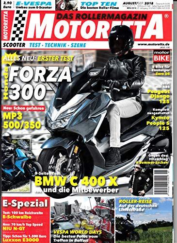 Motoretta 8-9 2018 Forza 300 Zeitschrift Magazin Einzelheft Heft Scooter Test Technik Szene