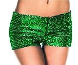 Club Nachtclub Pailletten Damenmode Shorts (M, grün)