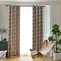 Melodieux Elegant Jacquard Stripe Blackout Curtains with top Grommets for Living Room/Bed room,Coffee-1 Panel