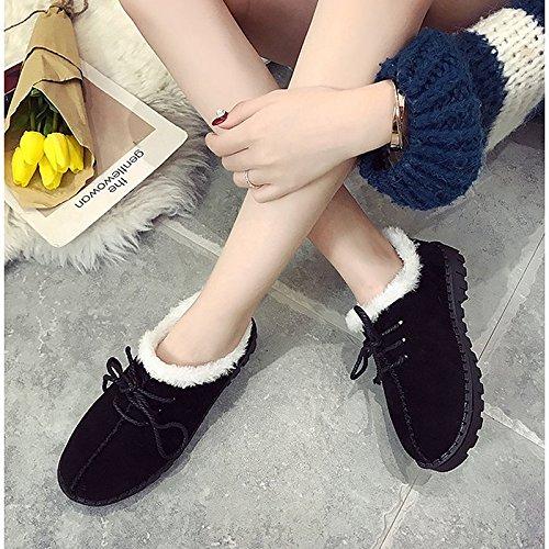 Hsxz Femmes Cachemire Chaussures Hiver Neige Bottes Talon Plat Bout Rond Bottes Pour Casual Brown Noir Gris Noir