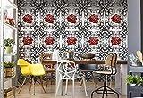 Wallsticker Warehouse Rosen-Muster Schwarz Weiß Rot Vlies Fototapete Fotomural - Wandbild - Tapete - 254cm x 184cm / 2 Teilig - Gedrückt auf 130gsm Vlies - 2552V4 - Muster