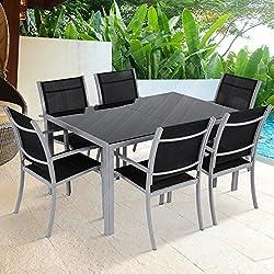 MIADOMODO 7-teilige Alu Gartengarnitur Gartenmöbel Sitzgruppe mit Glastisch (Farbwahl)