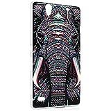 Sony Xperia C4 Funda - Lanveni Chic Elegante Carcasa rígida ultrafina para Sony Xperia C4 Transparente Hard Case - Patrón Elefante Tribal Diseño 1