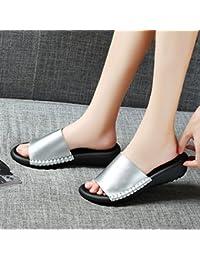 OME&QIUMEI Zapatos De Mujer Sandalias Zapatillas De Verano Zapatos Dama Adulto Desgaste Pincho 38 Plateado