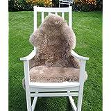 LANABEST Premium-Schaffell, taupe (braun-beige) ca. 100cm. Besonders zarte, warme und kuschelige Wolle.