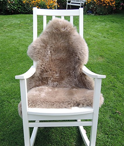 Preisvergleich Produktbild LANABEST Premium-Schaffell, taupe (braun-beige) ca. 100cm. Besonders zarte, warme und kuschelige Wolle.