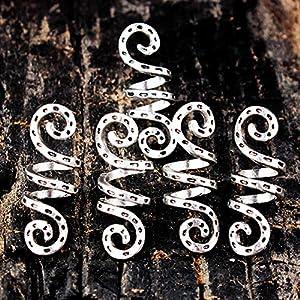 5 Stück Charms Perücke Vintage Zubehör Clips Silber Tube Legierung Dreadlock Perlen geflochten Spirale