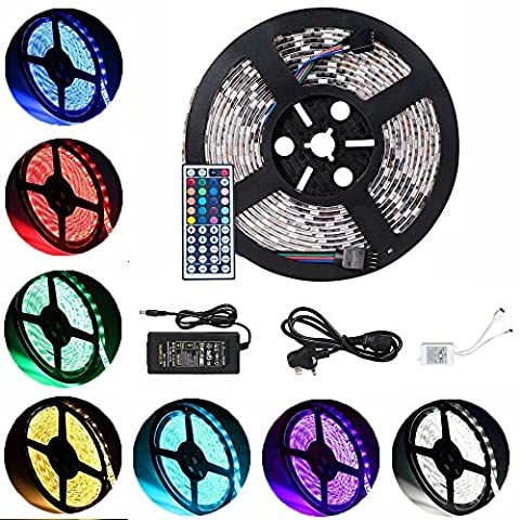 Sunface Euro LED Light Strip Set - 16.4 ft 5M 300 SMD 5050 RGB Waterproof Colour Changing LED Rope Light with 12V5A Power Supply+ 44 Key IR Receiver Controller Suitable for Outdoor Light Decoration,Bedroom, TV, Home decorative lighting