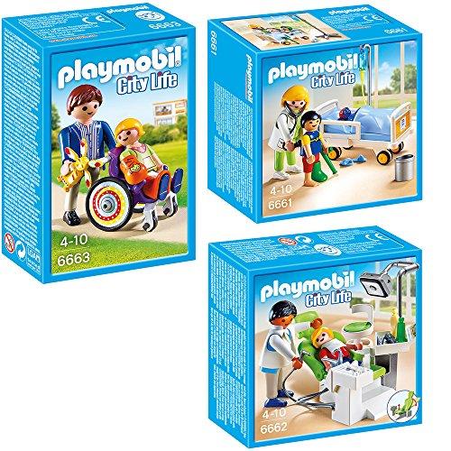PLAYMOBIL® City Life Die freundliche Kinderklinik 3-tlg. Set 6661 6662 6663 Ärztin am Kinderkrankenbett + Zahnarzt + Kind im Rollstuhl