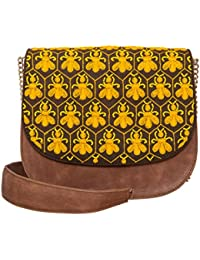 Navshi Multicolor Pure Leather Embroidery Sling Bag For Women With Magnetic Snap Closure