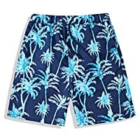 BASADINA Boys Swim Shorts Swimming Trunk Summer Printed Quick Dry Beachwear Kids Board 5-14 Years Blue