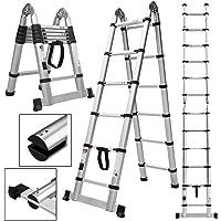 Wohl-H 3.8 M Échelle Télescopique 2 en 1 Escabeau 1.9M+1.9M Pliant Ladder (Multifonctions, Extendable, Aluminium, Certifié EN131, Résistance à 150kg)