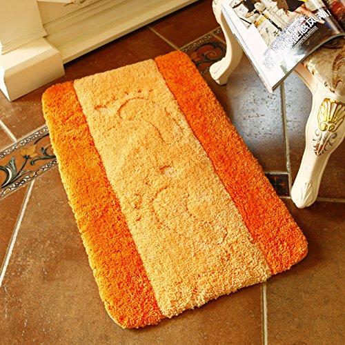 CLG-FLY addensare corridoio cucina camera da letto bagno zerbino zerbino zerbino antiscivolo tappetino da bagno tampone assorbente,60x90cm+U-50x60cm,limone-arancio di piedi grandi