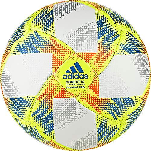 adidas Herren CONEXT19 TRNPRO Soccer Ball, top:White/Solar Yellow/Solar red/Football Blue Bottom:Silver met, 5