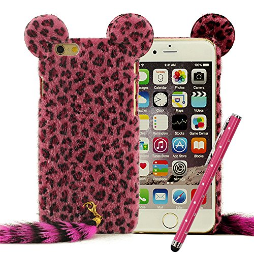 "iPhone 6 Plus 6S Plus 5.5"" Custodia Leopard Pelliccia Stile, iPhone 6 Plus 6S Plus Case Manicotto Protettivo Copertura Protettiva + Stylus Pen, Antiurto (no adattarsi iPhone 6 6S 4.7"") Rosso"