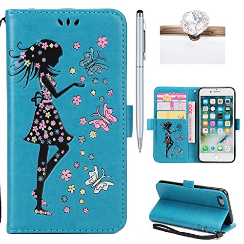 iPhone 7 Coque Dragonne Portefeuille PU Cuir Etui,iPhone 7 Coque Ultra Fine,iPhone 7 Etui Cuir Folio Housse PU Leather Case Wallet Flip Protective Cover Etui [PU Cuir et TPU Silicone Inner Case] Porte Fille Bleu