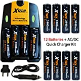 12 AA NiMH Rechargeable Batteries 3100mAh + AC/DC Quick Charger Kit For Canon Powershot SX160 IS