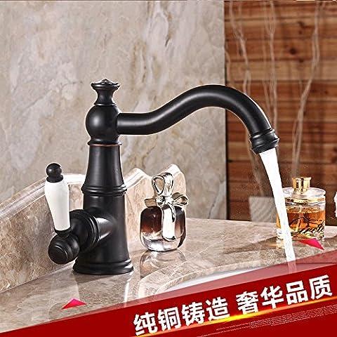 XHDWNBM Disipador negro anodizado bronce bajo el grifo con agua caliente del grifo lavabo y frío Dragón Negro