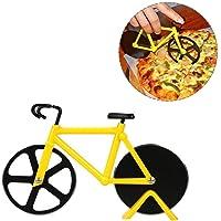 Bicicletta Ruota Tagliapizza  Tagliapizza a Forma di Bicicletta in Acciaio Inox Lame con Rivestimento Antiaderente Utensili da Cucina con Cavalletto Facile da Pulire Pizza Affettatrice  Giallo