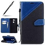 Uposao Handyhülle für Sony Xperia L2 Leder Tasche Schutzhülle Luxus Handy Tasche Lederhülle Hülle Dünn Bookstyle Klapphülle Flip Case Cover Mit Magnetverschluss, Schwarz Blau