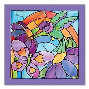 Melissa & Doug- Jardín Arco Iris Vitrales Fáciles, Multicolor (14264)