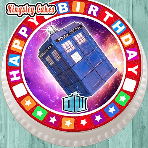 vorgeschnittenen Essbarer Zuckerguss großen Kuchen Topper–19,1cm rund DR WHO TARDIS mit Geburtstag Bordüre