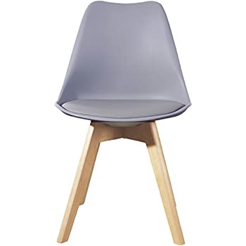 Lavin Lifestyle Grey Dining Chair Natural Solid Wood Legs Cushioned Pad Contemporary Designer Office Lounge Dining Kitchen