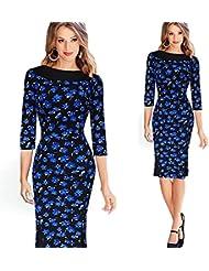 Gaoxu Mujeres de Europa y America vestido de la cintura, cuello redondo de punto de la onda hit color, Slim una falda,El negro y el azul,M